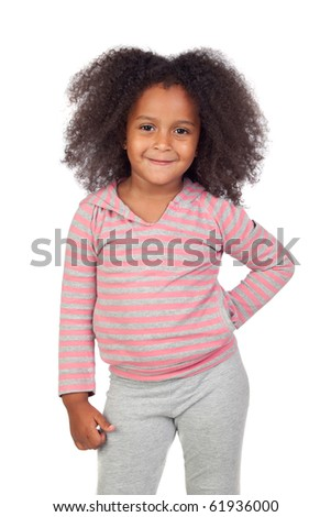Pensive african little girl with beautiful hairstyle isolated over white - stock photo
