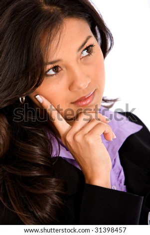 Pensive business woman portrait isolated over white - stock photo