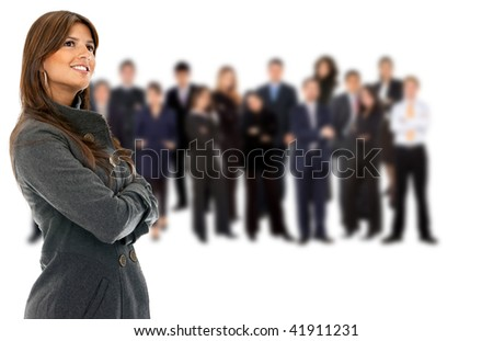 Pensive business woman with a group isolated over a white background - stock photo
