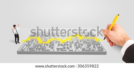 pensive businessman in front of labyrinth, maze solution concept - stock photo