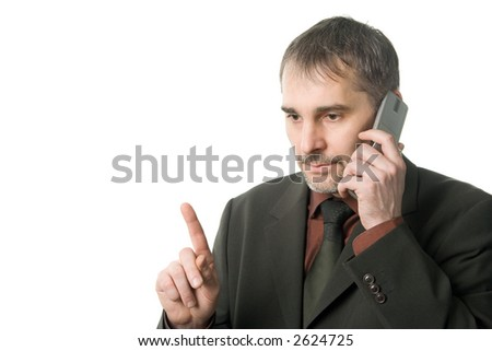 Pensive businessman talking on cellular, isolated on white