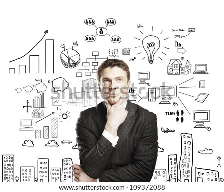pensive businessman with business plan concept