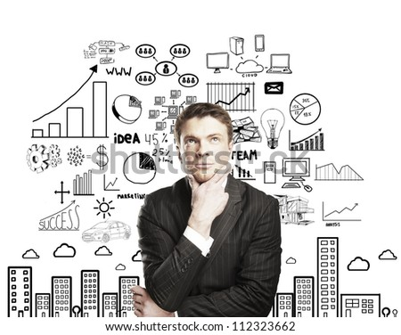 pensive businessman with business plan concept - stock photo