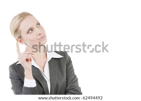 Pensive businesswoman, wondering about something