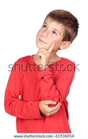 Pensive child with blond hair isolated on white background - stock photo