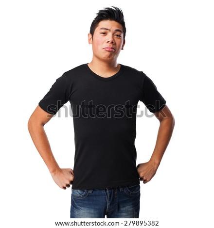 pensive chinese man - stock photo