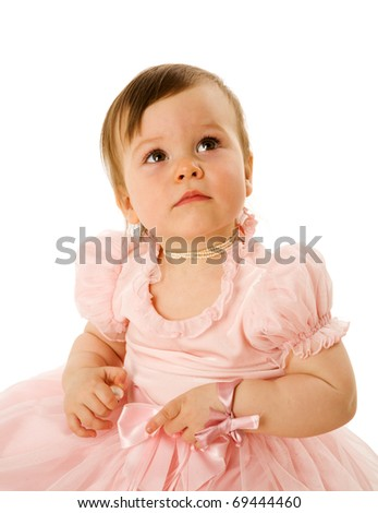 Pensive curious Little Girl isolated on white - stock photo