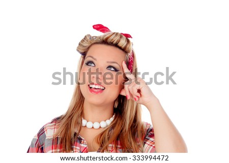 Pensive girl with pretty smile in pinup style isolated on a white background - stock photo
