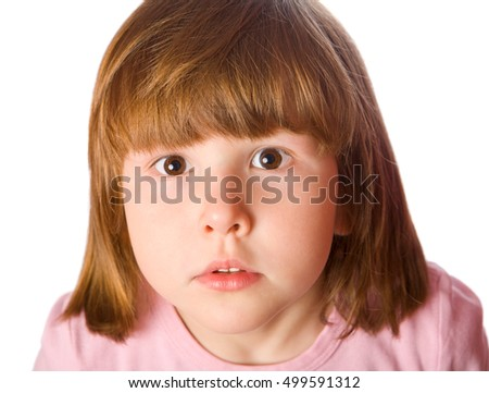 Pensive little girl close up portrait isolated on white