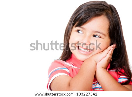 Pensive little girl daydreaming - isolated over a white background - stock photo