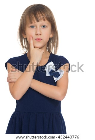 Pensive little girl in a blue dress . close-up - Isolated on white background - stock photo