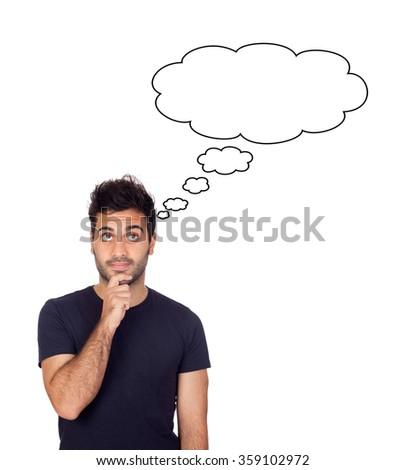 Pensive man in black isolated on a white background - stock photo