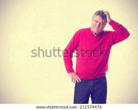 Pensive man posing - stock photo