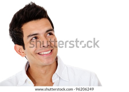 Pensive man smiling - isolated over a white background
