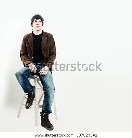 Pensive Man Thinking about the Future - stock photo