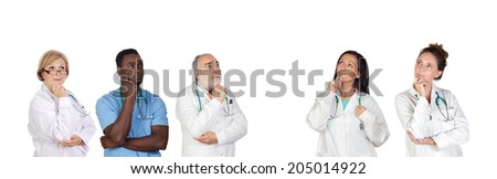 Pensive medical team isolated on a white background