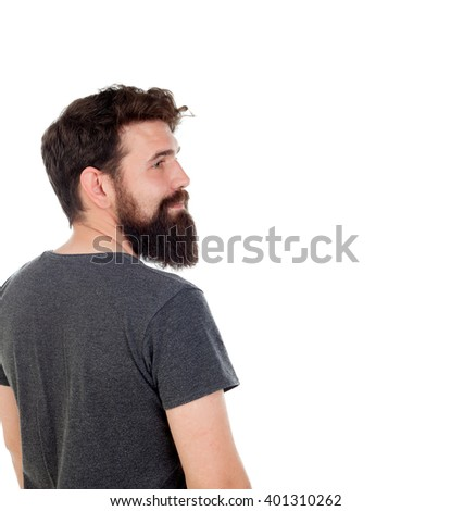 Pensive men with long beard isolated on white background