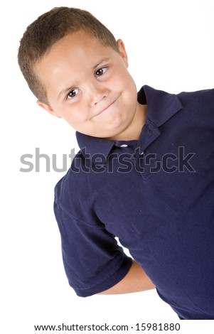Pensive mixed race boy on white background