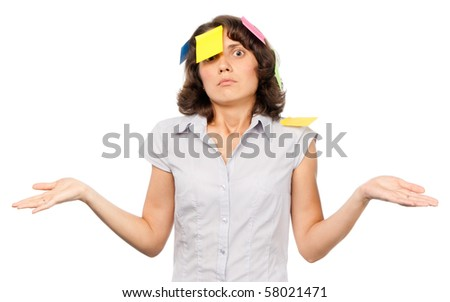 Pensive pretty girl with many stickers - stock photo
