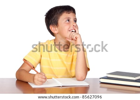 Pensive student child in the school isolated over white background - stock photo
