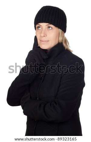 Pensive woman with a black coat isolated on white background