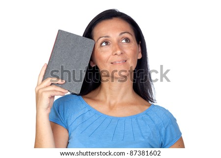 Pensive woman with a book isolated on a over white background
