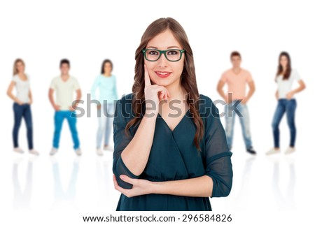 Pensive woman with glasses with people unfocused background - stock photo