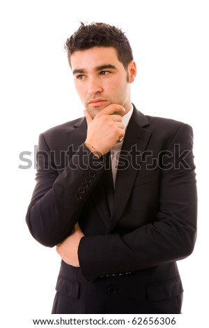 Pensive young business man on white background