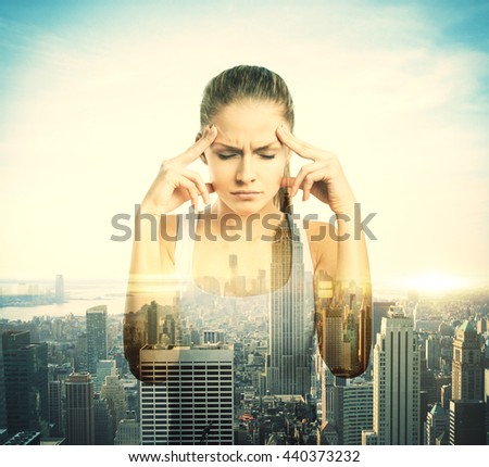 Pensive young girl on city background with sunlight. Double exposure - stock photo