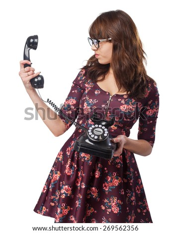 pensive young-woman telephone