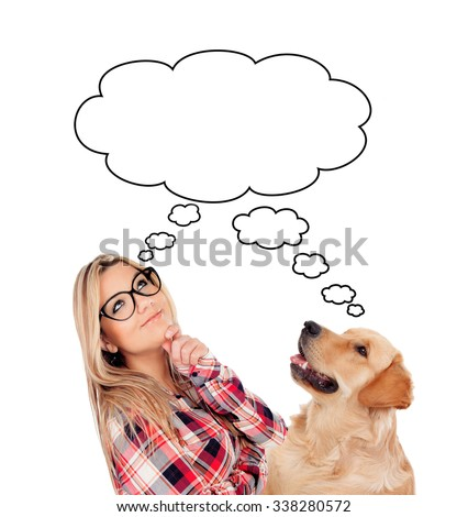 Pensive young woman with her dog looking up isolated on a white background - stock photo