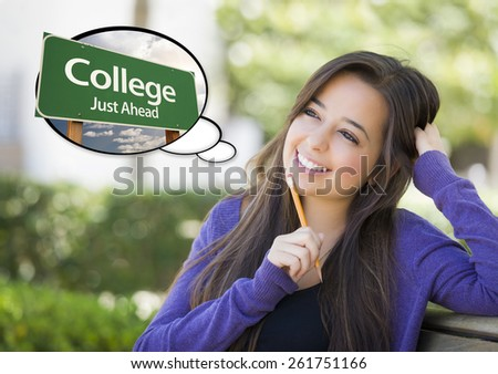 Pensive Young Woman with Thought Bubble of College Just Ahead Green Road Sign. - stock photo