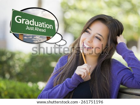 Pensive Young Woman with Thought Bubble of Graduation Just Ahead Green Road Sign. - stock photo