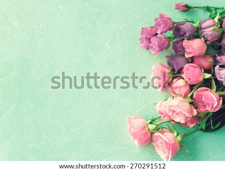 Peonies on mint - stock photo