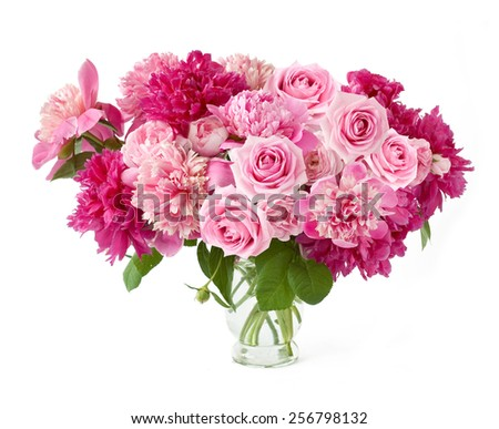 Peony and roses bunch isolated on white background - stock photo
