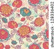 Peony flowers and leaves seamless pattern background raster - stock photo