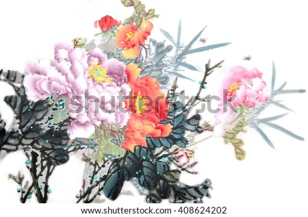 Peony flowers.Traditional chinese ink painting. - stock photo