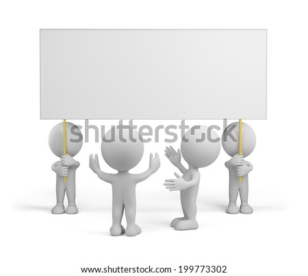 People admire advertising. 3d image. White background.