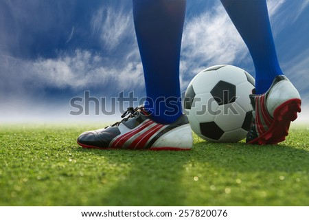 People are playing soccer - stock photo