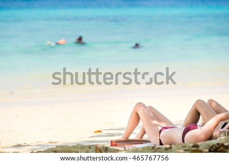 People are relaxing on the beach