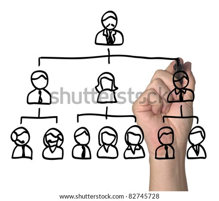 People arranged in a hierarchy. - stock photo