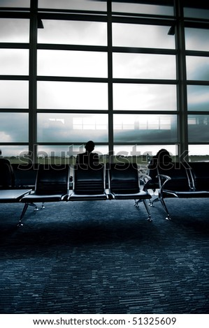 people at airport interior - stock photo