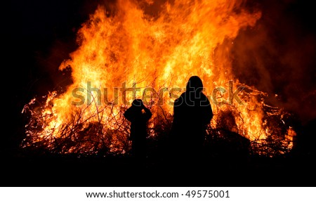 People at major bonfire or forest fire