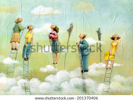 People at the top of the stairs looking up high - stock photo