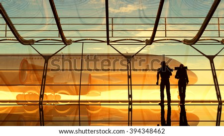 People at the window at the airport. - stock photo