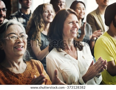 People Audience Diversity Group Presentation Concept - stock photo