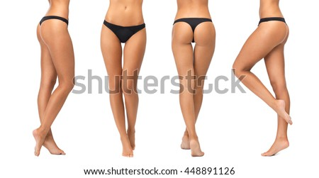 people, beauty, bodycare, underwear and slimming concept - female legs and bottom in black bikini panties over white background