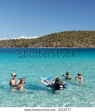 People before snorkling in blue caribbean water - stock photo