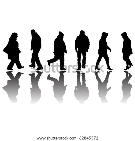 people black silhouettes isolated on white background, abstract art illustration; for vector format please visit my gallery - stock photo