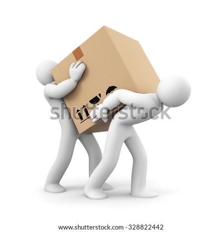People carry heavy box - stock photo